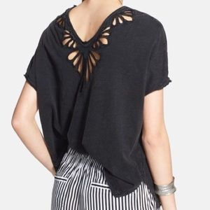 Free People Double Cut-Out Oversized Tee